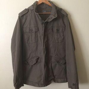 Olive Green Army Utilitarian Parka Jacket